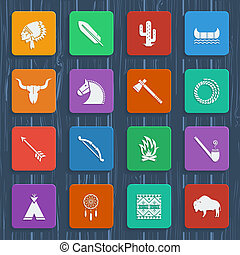 American native indians icons - American native pictograms. ...