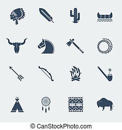 American native pictograms isolated on white. Vector icons in flat style design