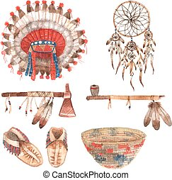 American native objects pictograms set watercolor