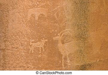 American-Native Petroglyp 1 - Petroglyph or rock carvings of...