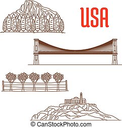 American nature landmarks and sightseeing symbols of Yosemite National Park, Napa Valley Viticultural Area, Brooklyn Bridge, Alcatraz Island. US architecture and and national showplaces icons for souvenirs, travel map elements