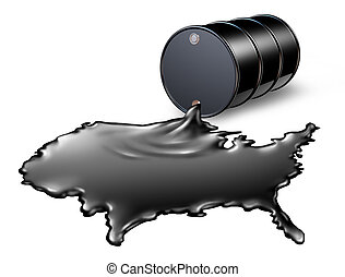 American Oil Industry with a black drum barrel pouring and spilling out fossil fuel liquid crude as a map of the United States showing the financial energy business concept of drilling and oil dependence by the US government and the political energy policy.