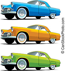 American old-fashioned car - Vectorial icon set of American...