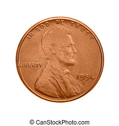 American one cent coin. The obverse side - Abraham Lincoln's portrait. Isolated on white background.
