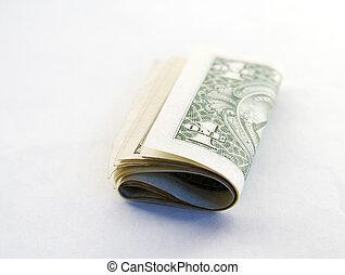 Fold of American one dollar bills.