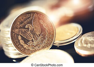 American One Dollar Coins and Other Collectible Coins. Aged...