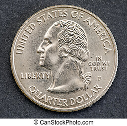 American one quarter coin isolated background. George washington
