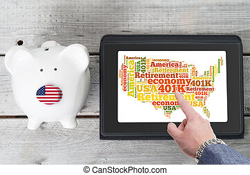 American Online investment for 401k retirement plan concept