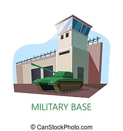 American or USA military base building and tank.