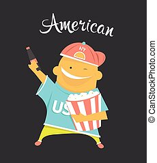 American or yankee man character, citizen of the USA