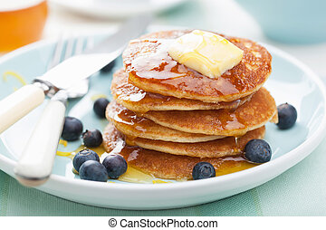 American pancakes with syrup and blueberry - american...
