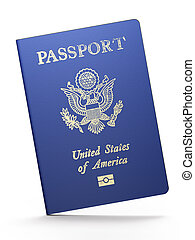 American passport on white background