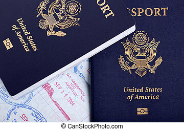 American Passports & Immigration Stamps Background
