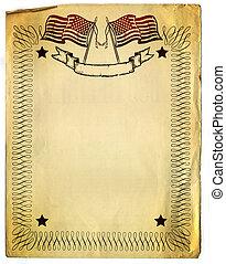 American Patriot Border design on old Broken Paper