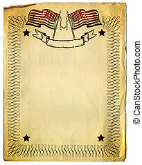 American Patriot Border design on old Broken Paper