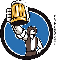 American Patriot Craft Beer Mug Toasting Circle Retro -...