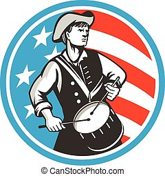 American Patriot Drummer USA Flag Circle Retro -...