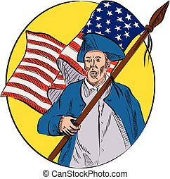 American Patriot Holding American Flag Drawing - Drawing...