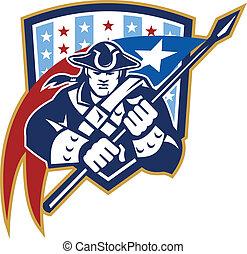 American Patriot Holding Brandish Flag Crest - Illustration...