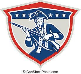 American Patriot Holding Musket Rifle Shield Retro