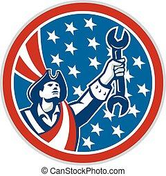 American Patriot Holding Spanner Circle Retro