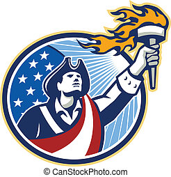 Illustration of an American Patriot holding a flaming torch looking up set inside oval with USA stars and stripes flag on isolated white background.