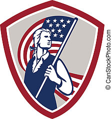 American Patriot Holding USA Flag Shield - Illustration of...