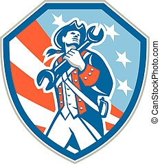 American Patriot Holding Wrench Shield Retro