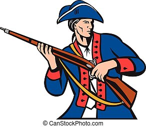 American Patriot Militia Musket Retro - Illustration of an...