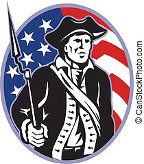 Illustration of an American patriot minuteman revolutionary soldier with musket bayonet rifle and stars and stripes flag set inside ellipse done in retro style.