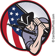 Illustration of an American patriot minuteman revolutionary soldier with stars and stripes flag set inside circle done in retro style.