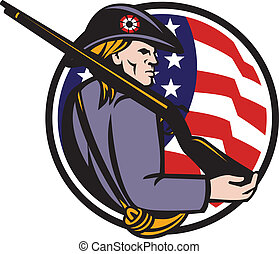 American Patriot Minuteman With Rifle And Flag - ...
