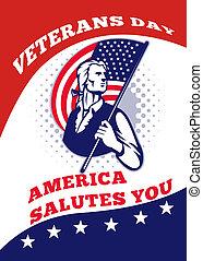 American Patriot Veterans Day Poster Greeting Card - Poster...