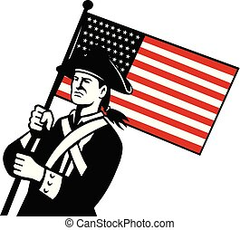 american-patriot-waving-us-flag-ISO - Retro style...