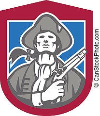 American Patriot With Flintlock Shield Retro