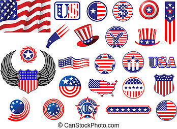 American patriotic badges, symbols and labels decorated with...