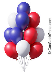 American patriotic balloons in traditional colors on white.
