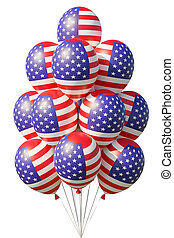 American patriotic balloons painted with USA flag on white.