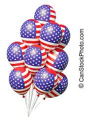 American patriotic balloons painted with USA flag with ribbons.