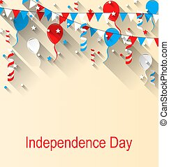 American Patriotic Banner for Independence Day with Balloons, Streamer, Stars and Pennants