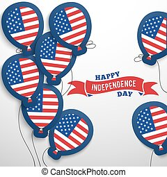 American patriotic flag balloons cut out from paper