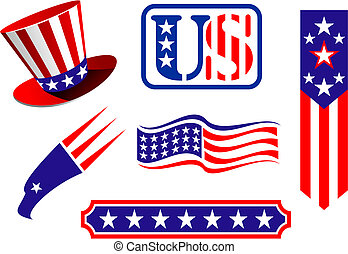 American patriotic symbols set for design and decorate