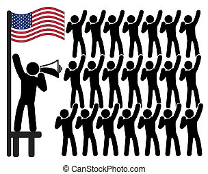 American Patriotism - Concept sign of political leader and...