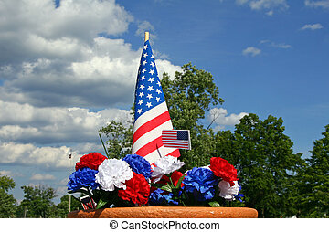 American Patriotism - Flag and Carnations