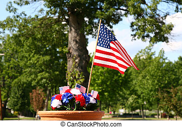 American Patriotism - Flag and Tree 1