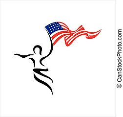 American people logo. American flag with people vector