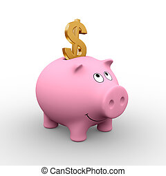 A golden Dollar in a pink piggy bank (3D rendering) - A clipping path is embedded to isolate the subject (no shadow)