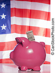 American piggy bank savings