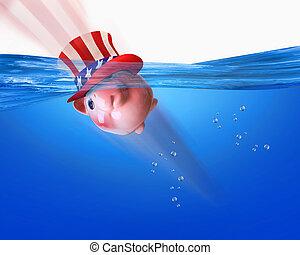 American Piggy bank swimming.