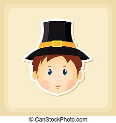 American Pilgrim children icon, Thanksgiving day